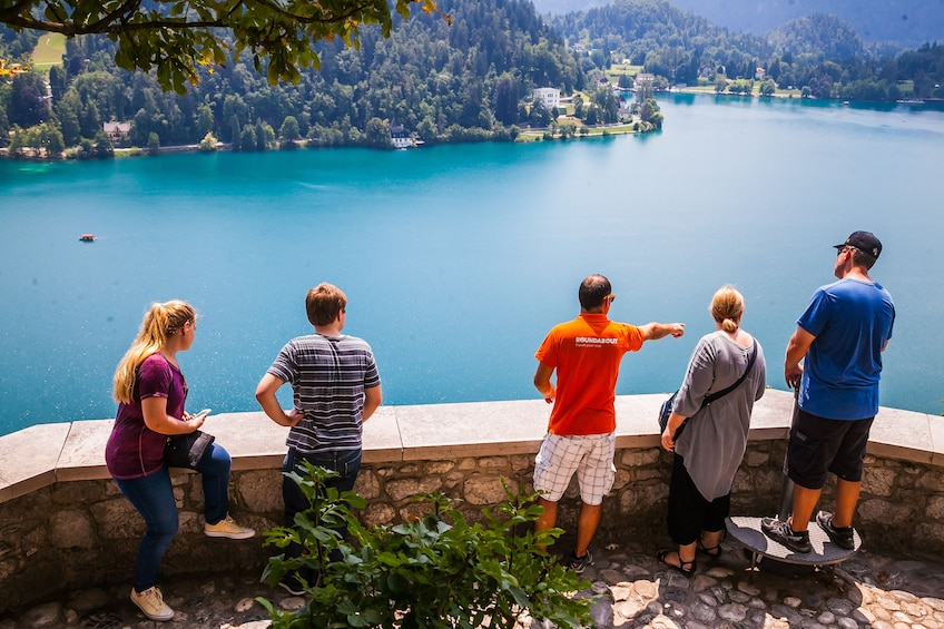 Show item 3 of 8. Tour group pointing out sights in Bled, Slovenia