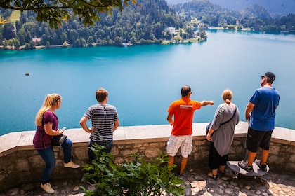 Tour group pointing out sights in Bled, Slovenia