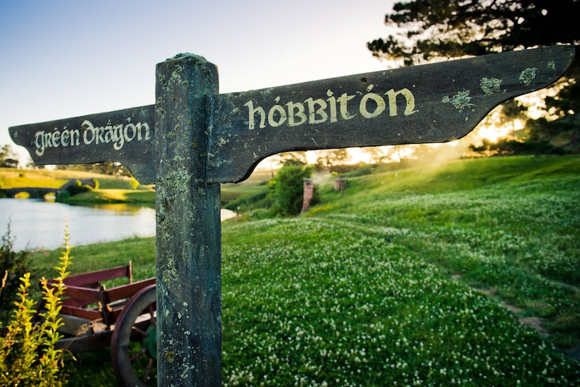 Show item 7 of 7. Road sign at The Shire on the Hobbiton movie set