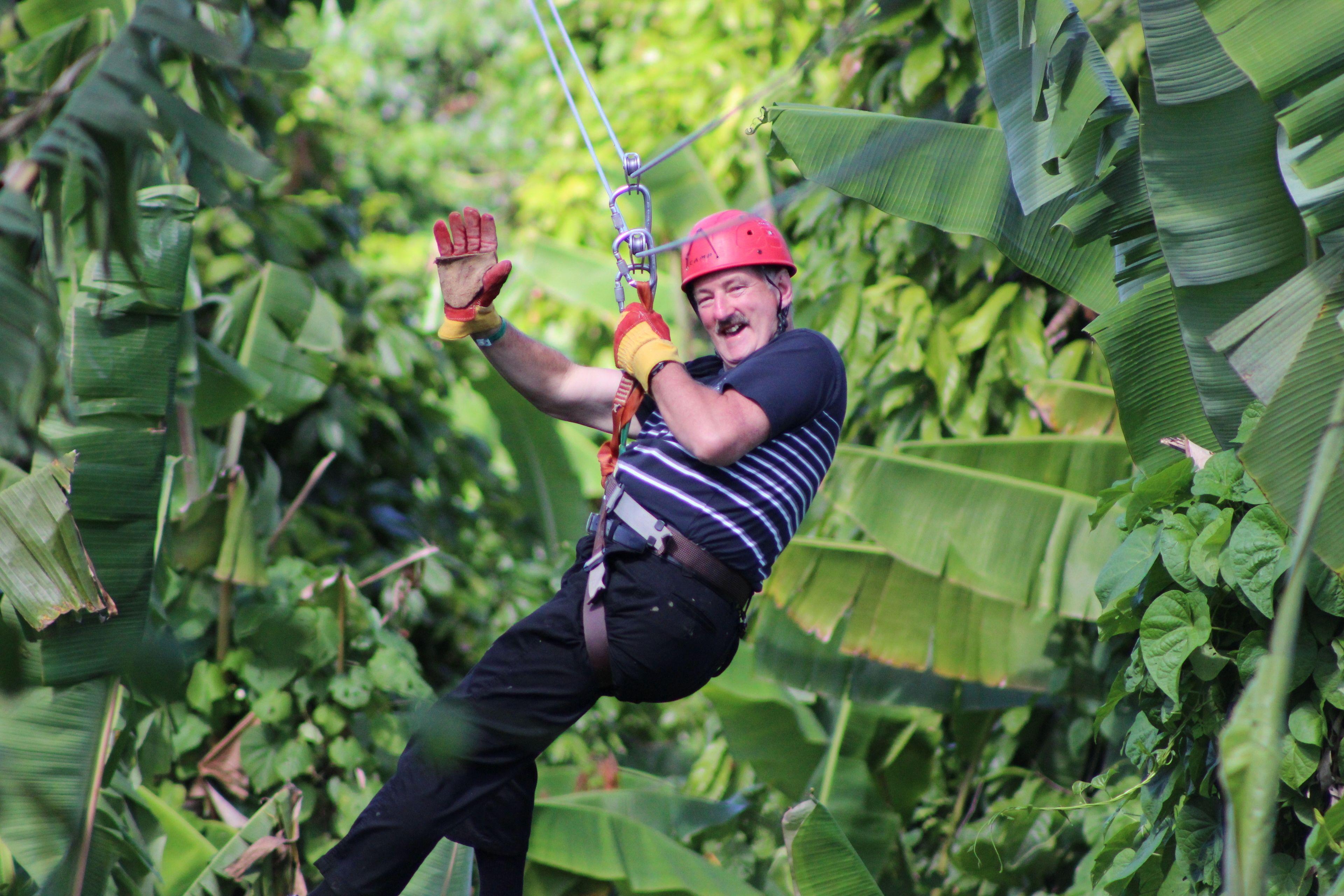 Man ziplining in Punta Cana