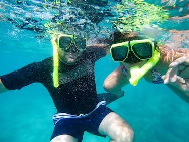 Underwater photo of two snorkelers