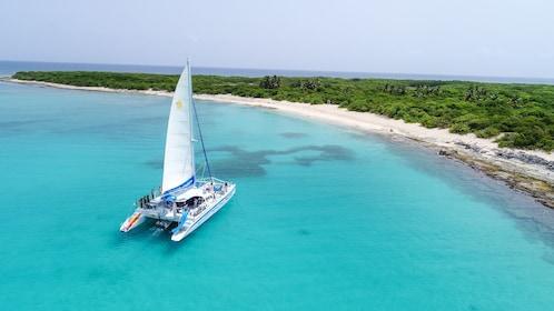 Aerial shot of catamaran anchored in clear blue water