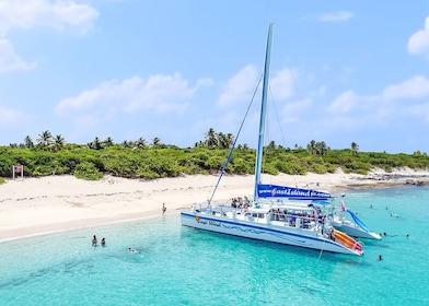 Catamaran anchored off a beach