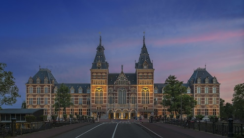 View of Rijksmuseum from the street in Amsterdam