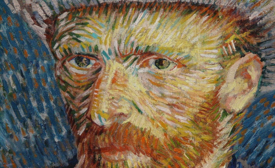 1 枚目の写真 (10 枚中) を開く。 Close-up of Van Gogh self-portrait at the Van Gogh Museum
