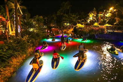 Colorfully illuminated pool at night with paddleboarders