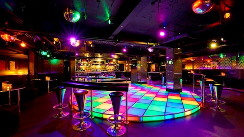 A London night club with a colorful dance floor