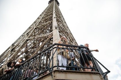 Tourists on the 2nd level of the Eiffel Tower in Paris