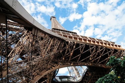Looking up at the Eiffel Tower from the ground in Paris
