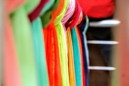Row of colorful scarves in Delhi