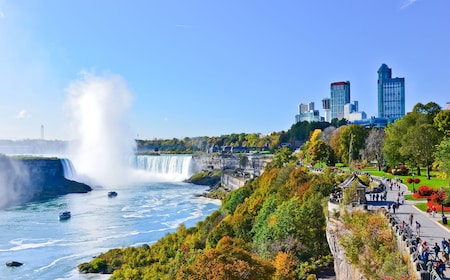 View of Niagara Falls and park in New York