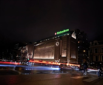 Night view of the Heineken Experience building in Amsterdam
