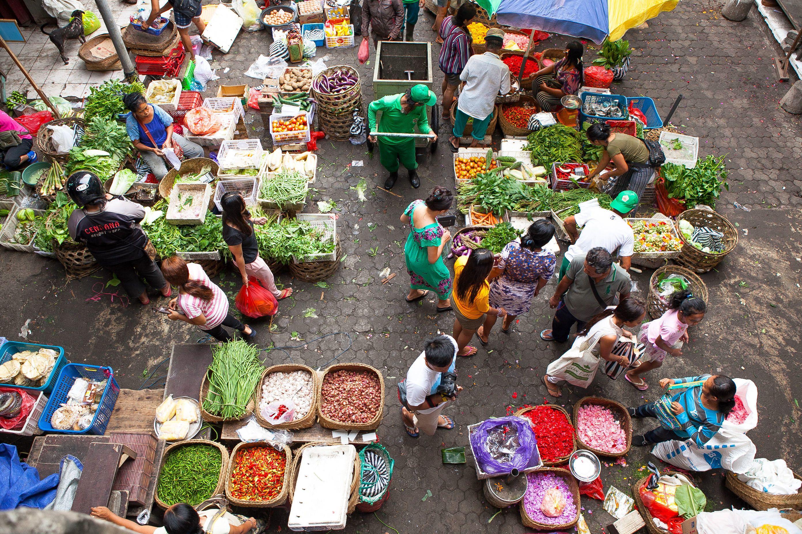 Open air food market in Ubud