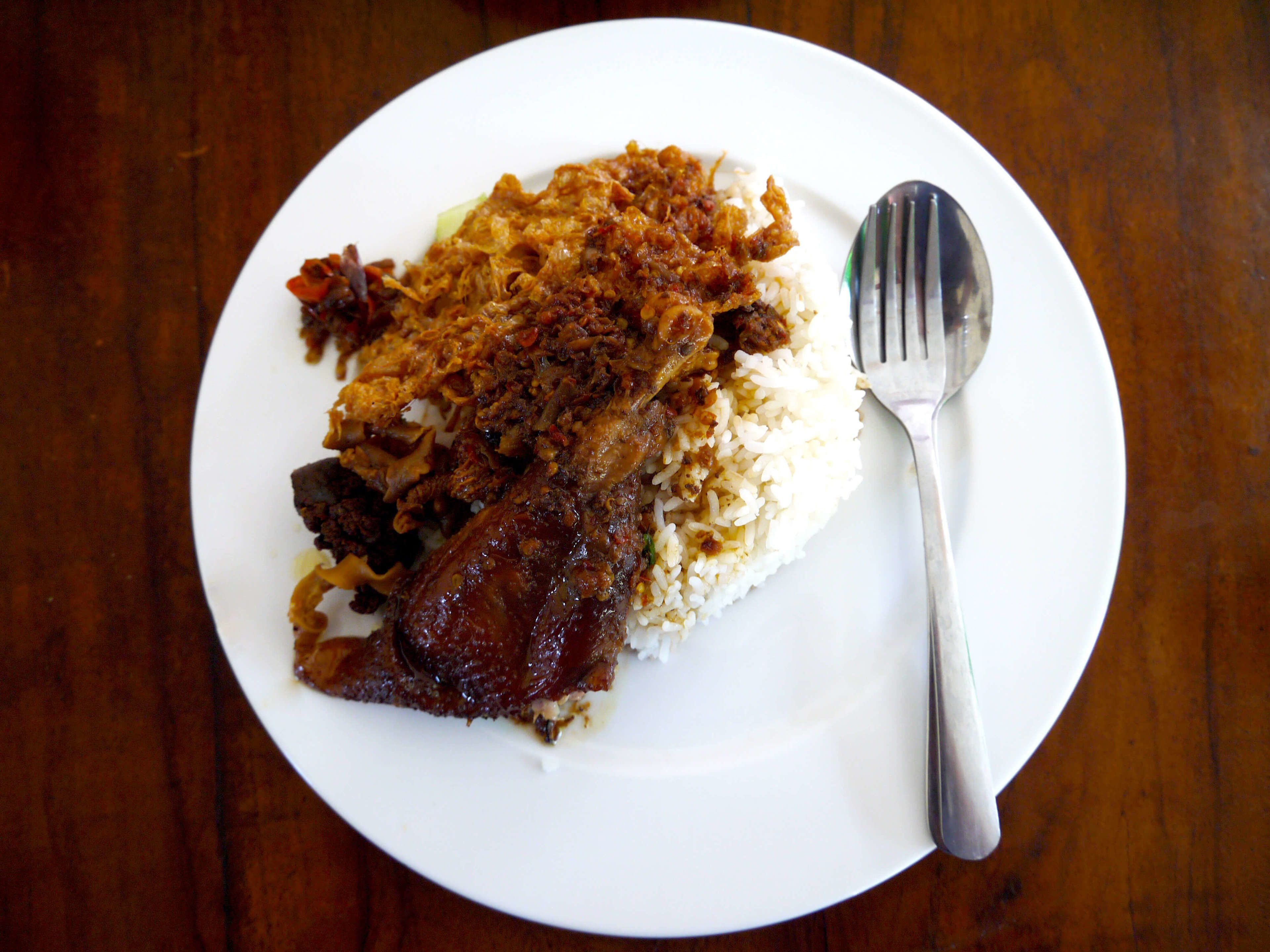 A plate of Indonesian food
