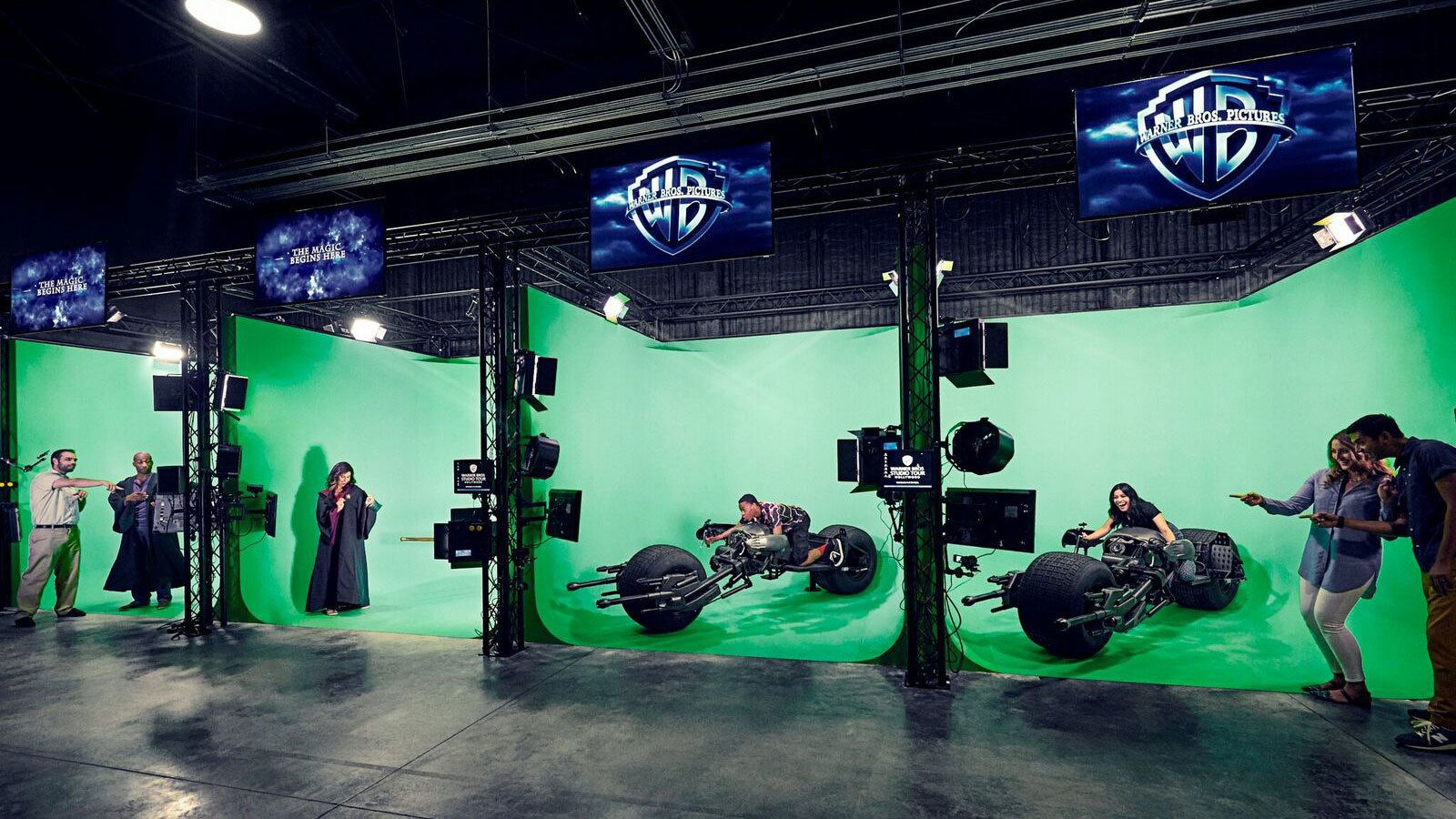 People with props on green screen during Warner Bros. Studio Tour Hollywood