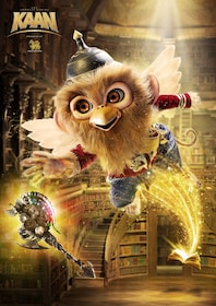 A half-bird/half-monkey creature wearing a Pickelhaube helmet and flying out of a book reaches for a bejeweled axe in a library