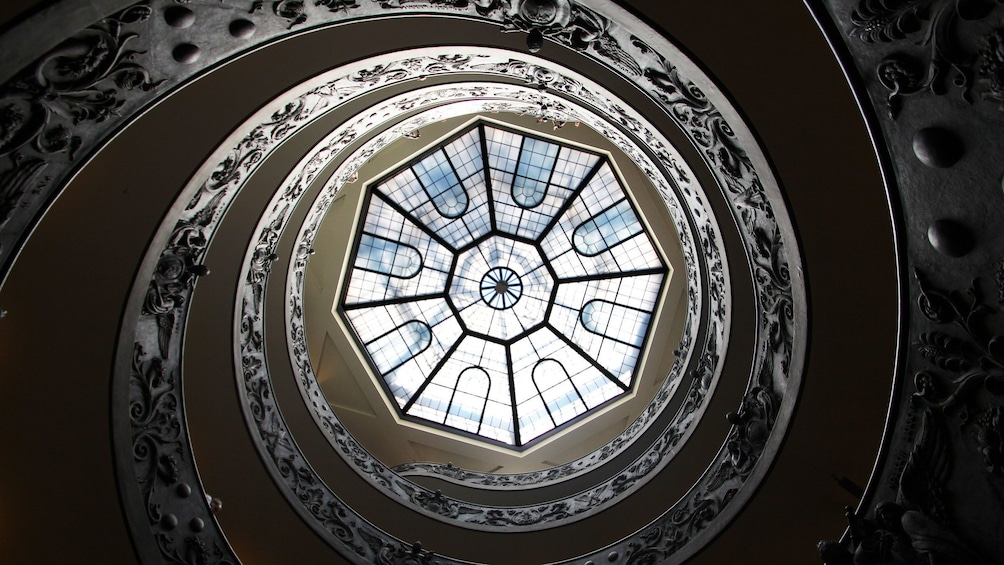 View up spiral staircase in Rome