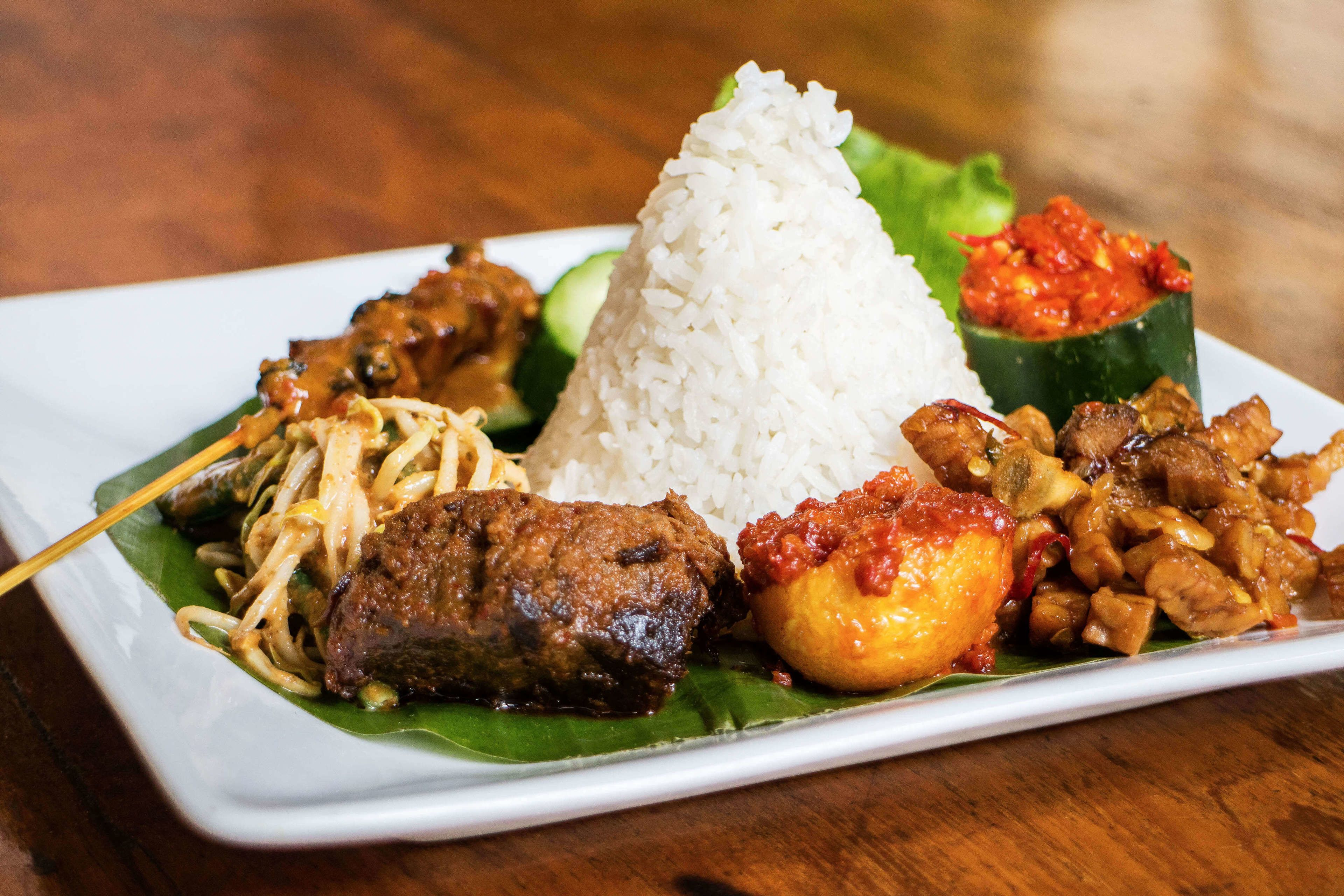 Traditional meat and rice dish in Jakarta