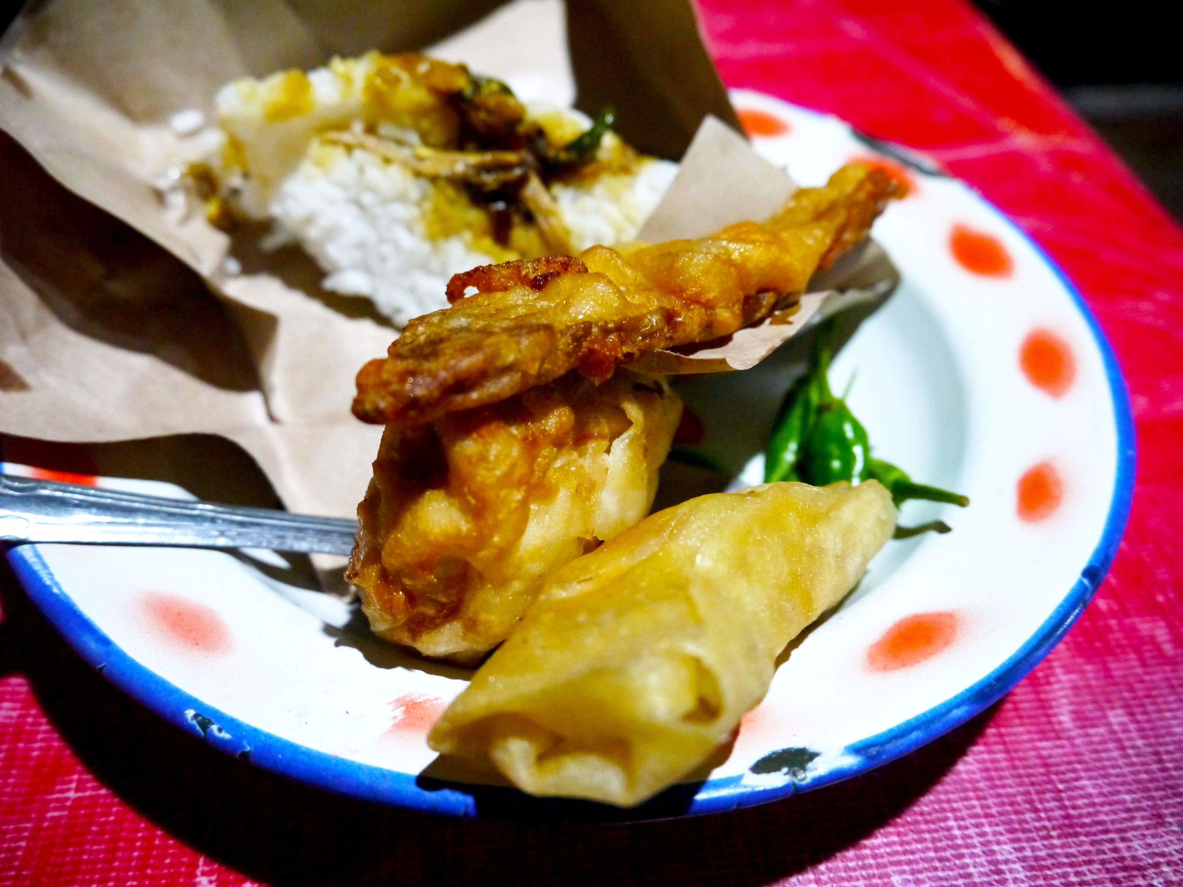 Fried food at the Yogyakarta Night Food Tour