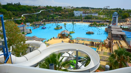 Windy water slides at a water park in Barcelona