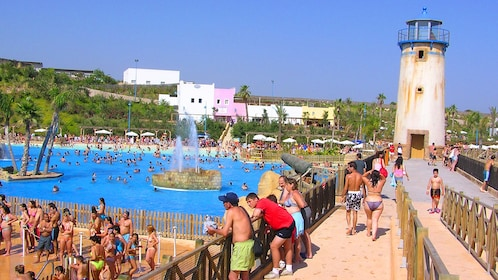 Crowded water park in Barcelona
