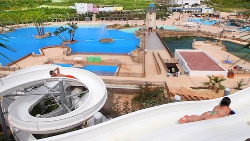 Waterslides and wave pools at a water park in Barcelona
