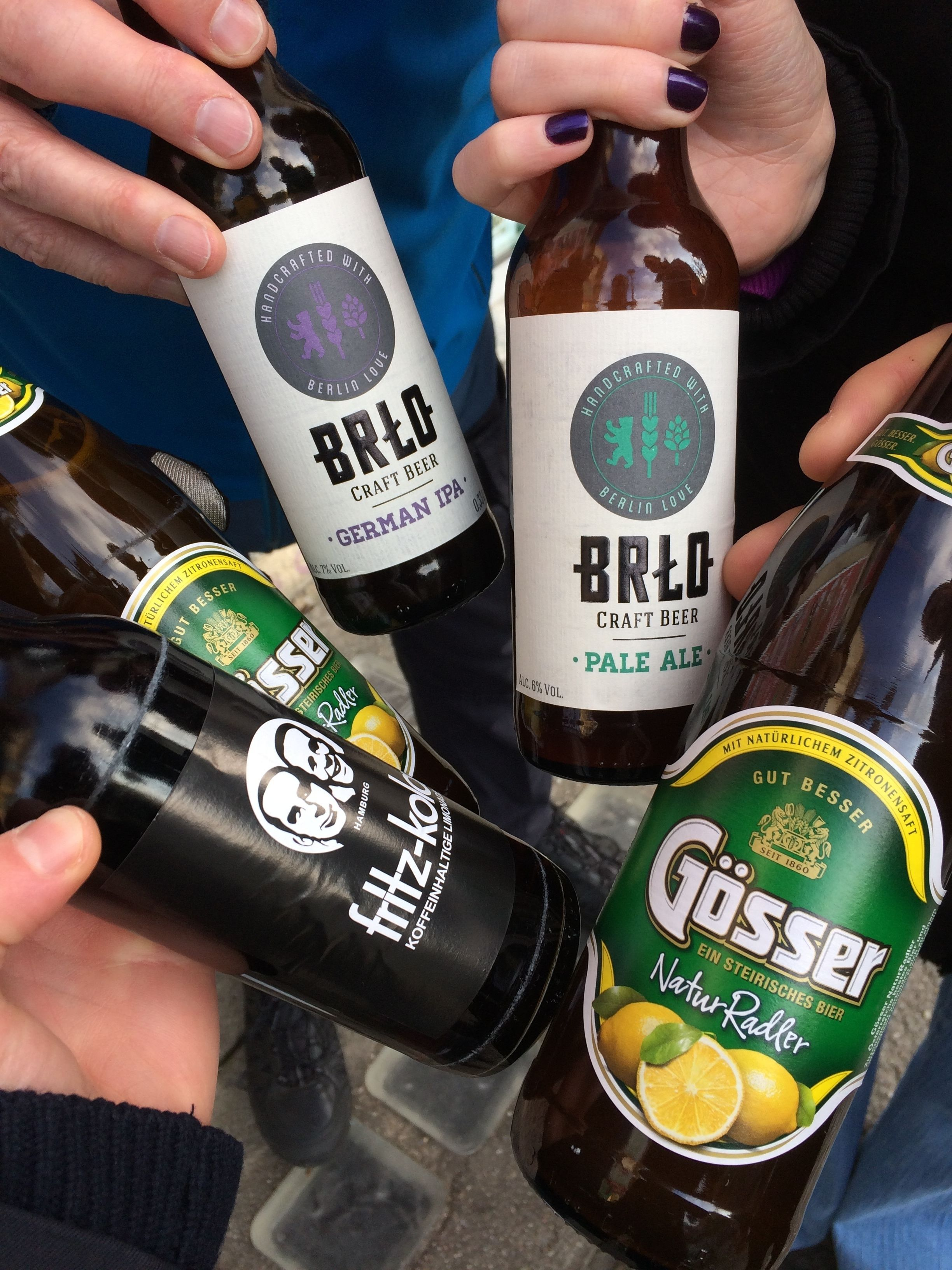 Variety of beers on a food tour in Berlin