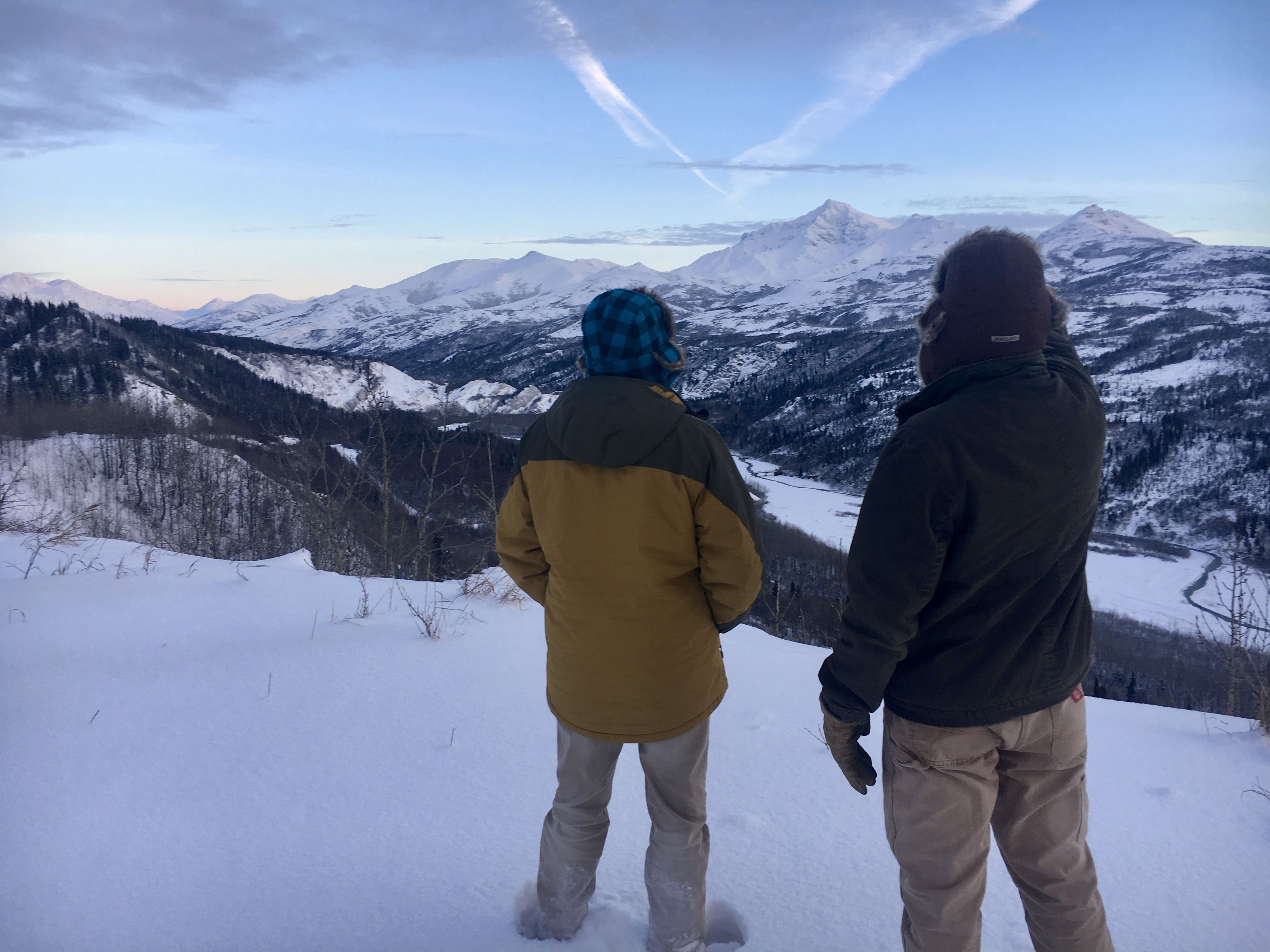Two people look out at the mountains of Denali Park