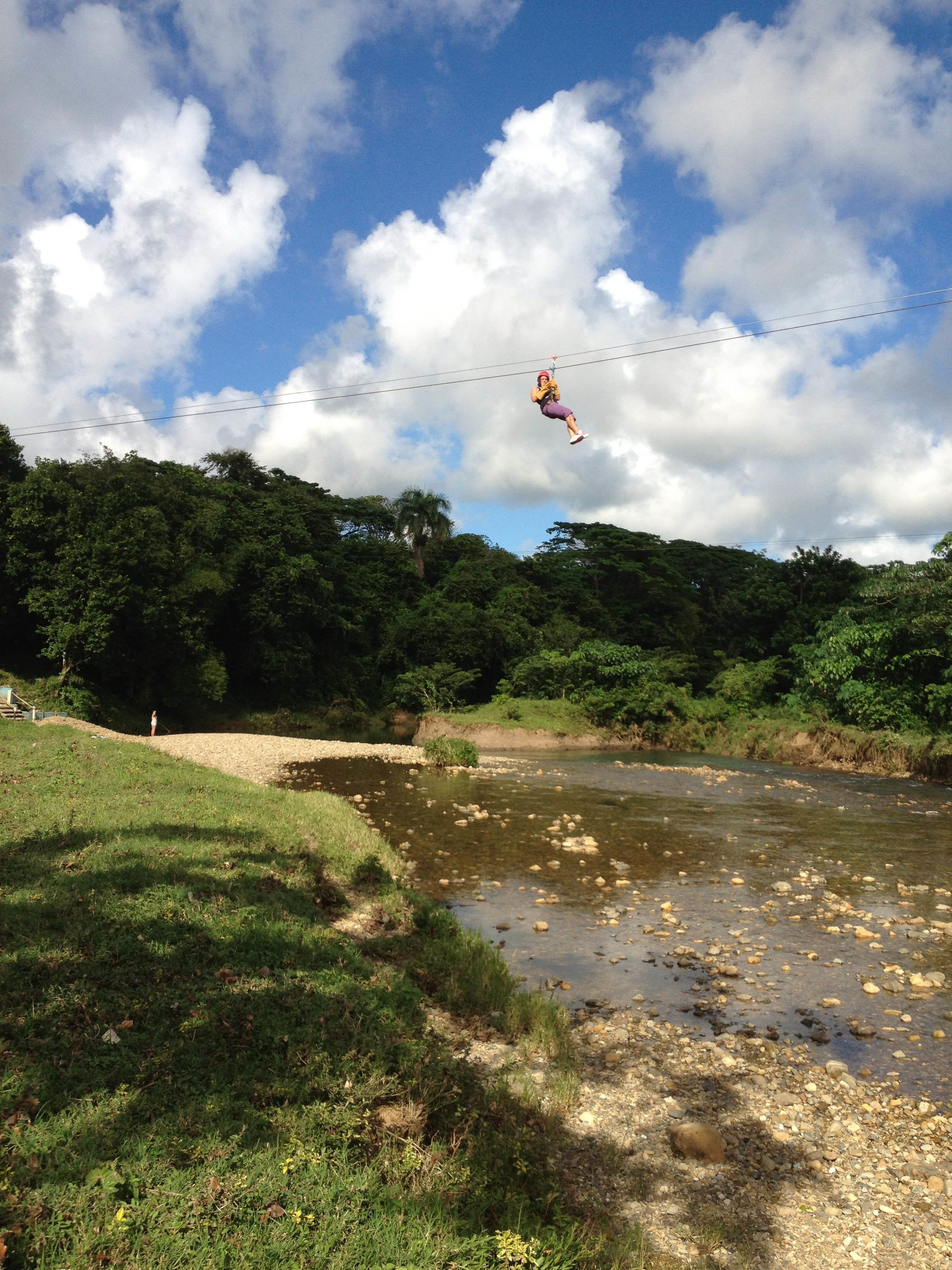 View of a zip lining activity in Punta Cana