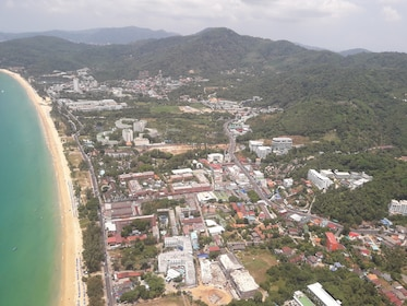 Aerial view of city along the coast in Phuket