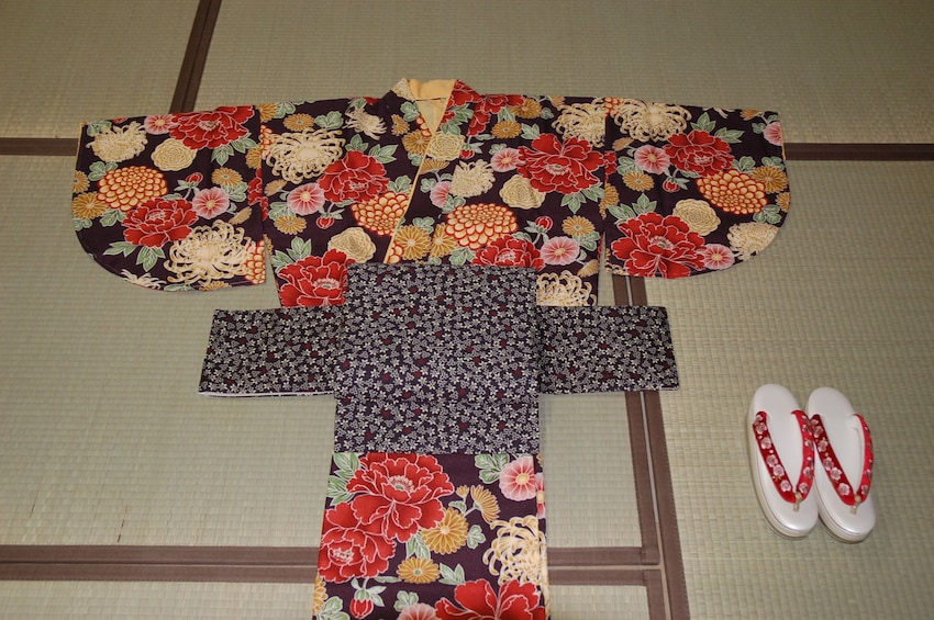 Show item 3 of 10. Kimono and Japanese Sandals laid on the ground in Hokkaido