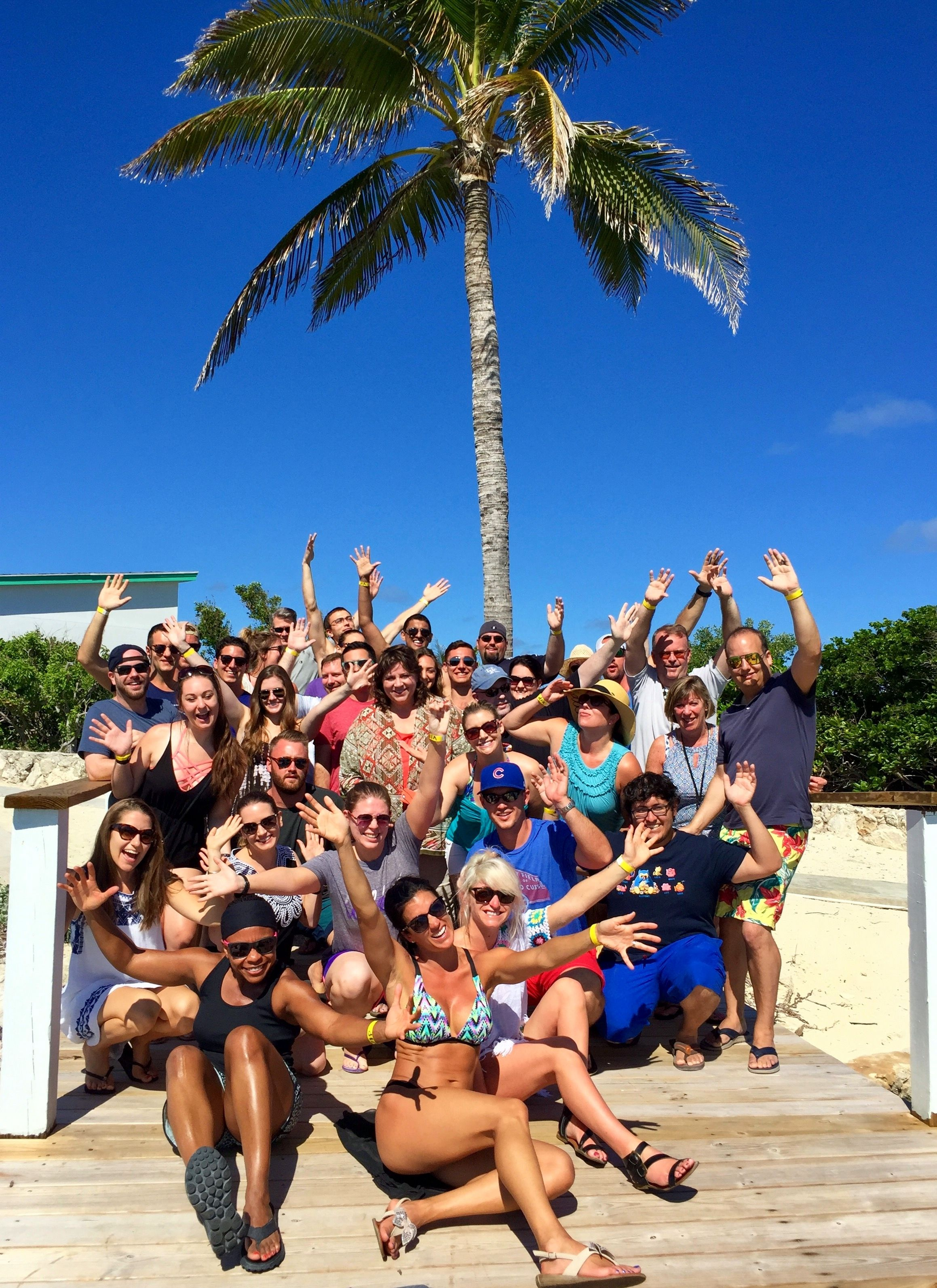 Tour group on Pearl Island in Bahamas