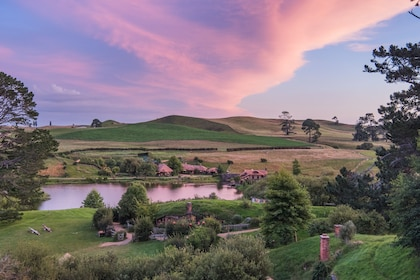 Sunset over Hobbiton, New Zealand