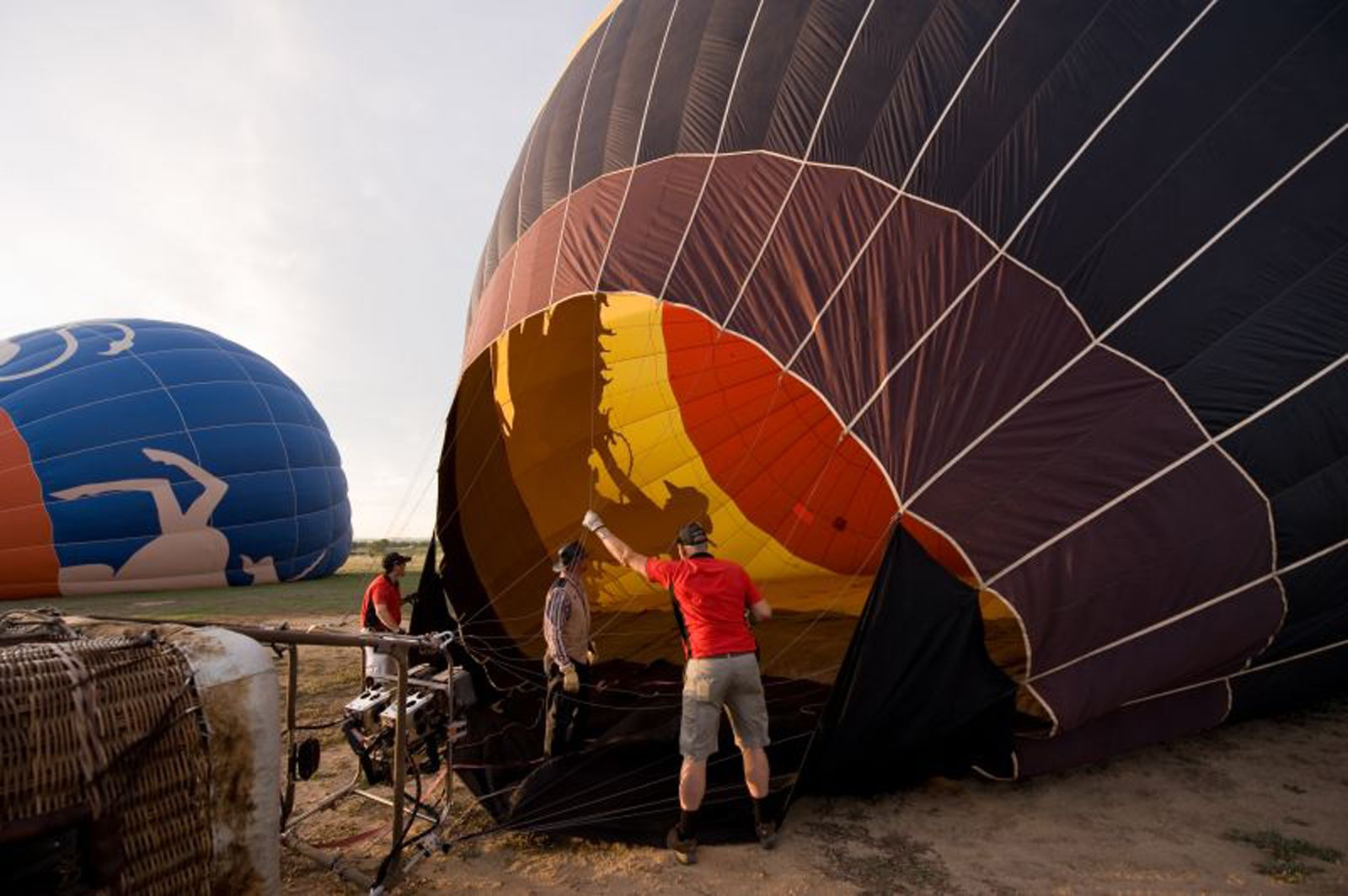Hot air balloons on the ground in Colorado Springs