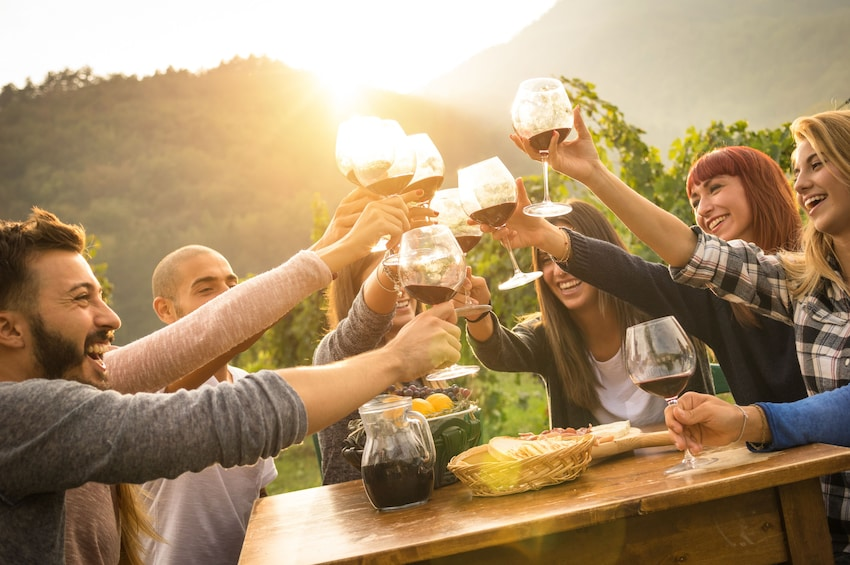 Group toasts red wine on an outdoor patio