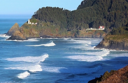 Landscape view of the Heceta Head Light on the Oregon Coast