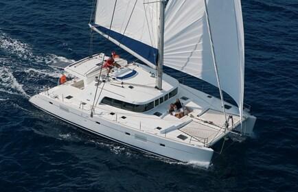 View of a luxurious yacht sailing around the Kona coast