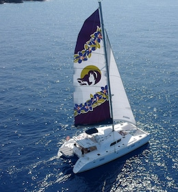 Aerial view of a luxurious yacht sailing along the Kona coast on a sunny day