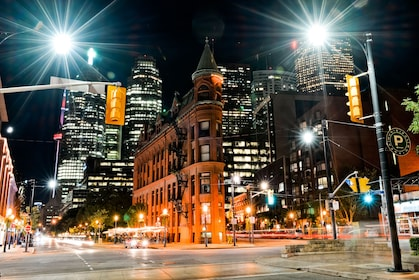 City lights at night in Toronto