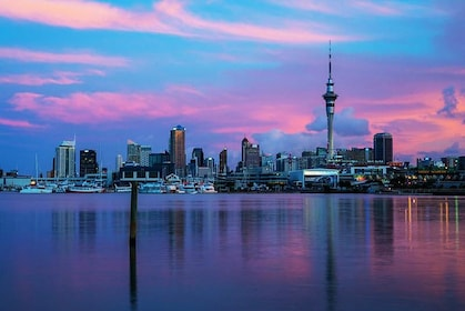 Cityscape at sunset in Auckland