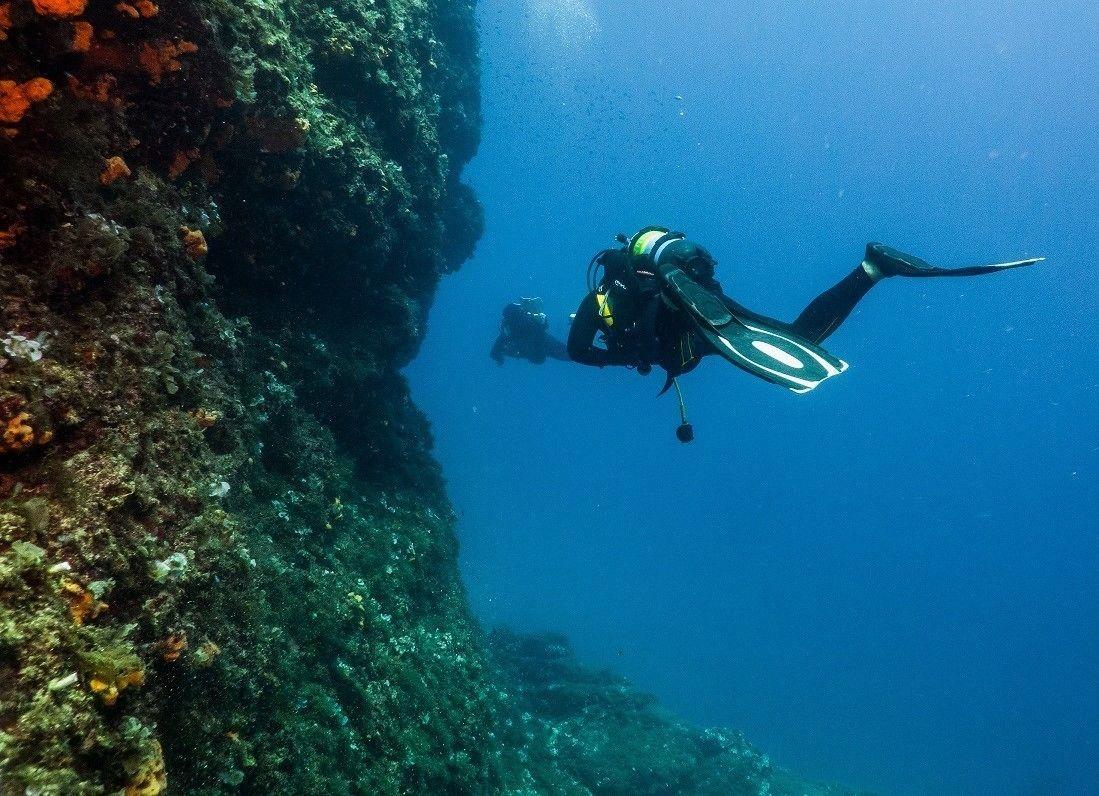 SCUBA diver off the coast of Athens, Greece