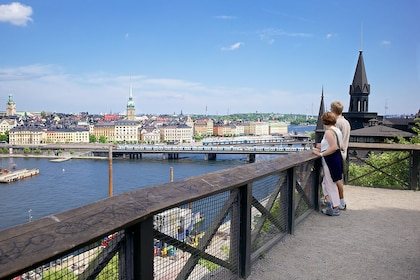 Couple enjoying a view of Stockholm