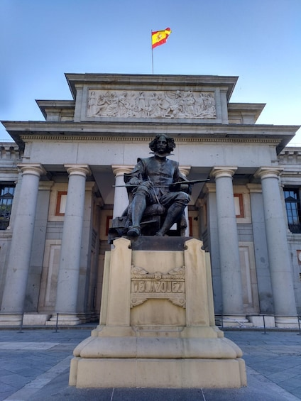 Statue of painter Diego Velázquez outside Museo del Prado in Madrid