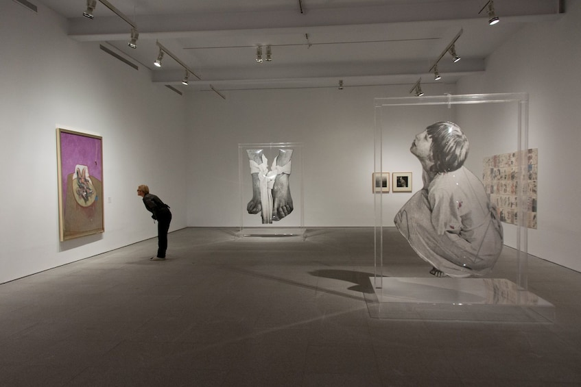 Paintings and sculptures at a museum in Madrid