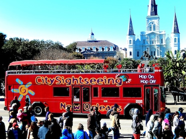 Hop-on Hop-off City Sightseeing double-decker bus in New Orleans