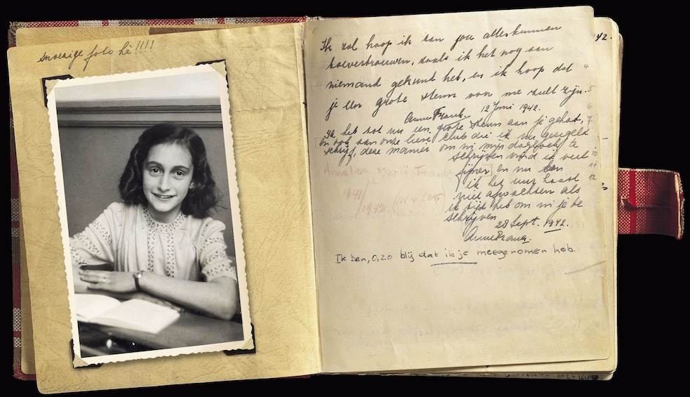 Show item 1 of 6. Anne Frank's journal in Amsterdam