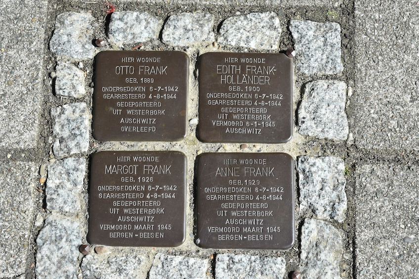 Show item 3 of 6. Commemorative plaque of Anne Frank and family