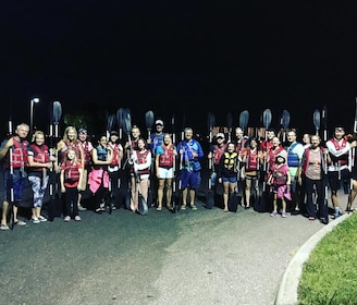 Night kayak tour group