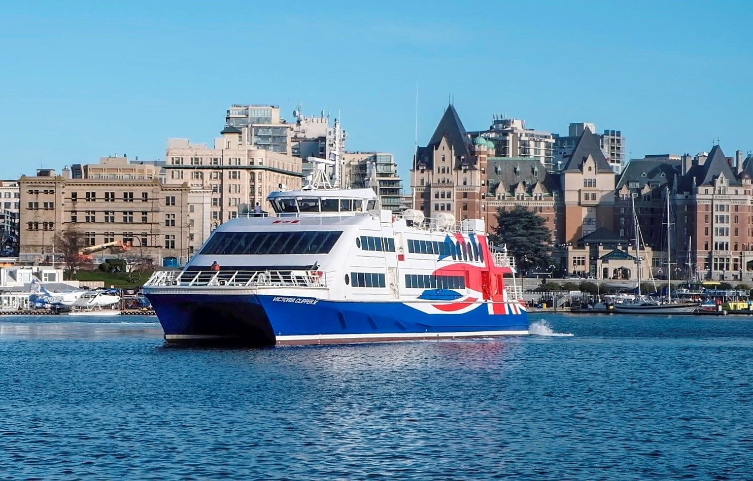 Victoria Clipper ferryboat with city in the background