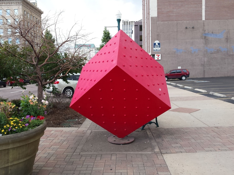 Show item 2 of 6. Red cube sculpture in Colorado Springs